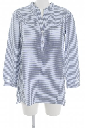 Massimo Dutti Linen Blouse steel blue-white striped pattern navy look