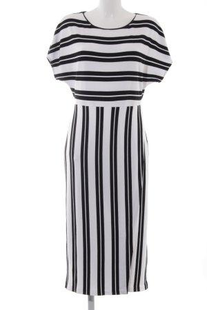 Massimo Dutti Midi Dress black-white striped pattern casual look