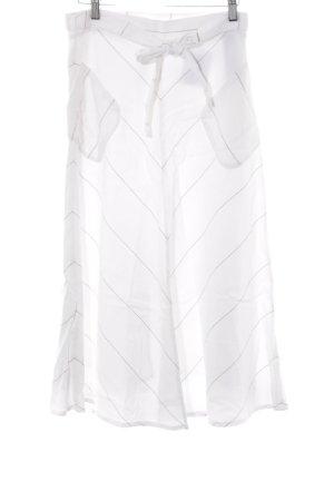 Massimo Dutti Midirock weiß-hellbraun Streifenmuster Casual-Look