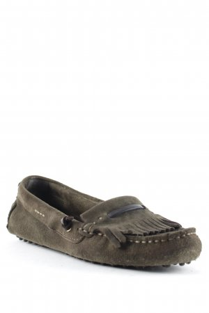 Massimo Dutti Moccasins olive green-dark brown casual look