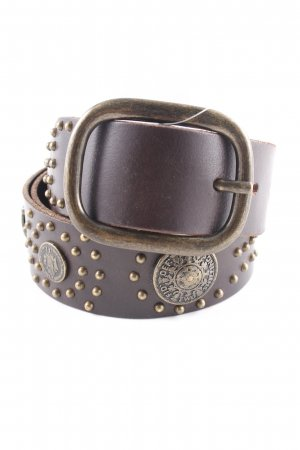 Massimo Dutti Studded riem donkerbruin casual uitstraling
