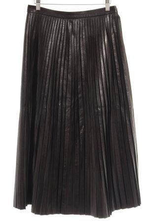 Massimo Dutti Geplooide rok zwart straat-mode uitstraling