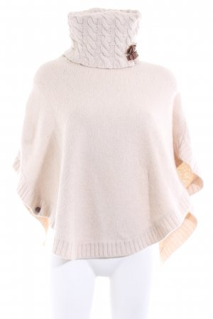 Massimo Dutti Poncho natural white cable stitch casual look