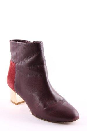 Massimo Dutti Reißverschluss-Stiefeletten braunrot-bordeauxrot