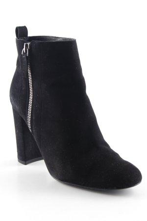 Massimo Dutti Reißverschluss-Stiefeletten schwarz-silberfarben Casual-Look