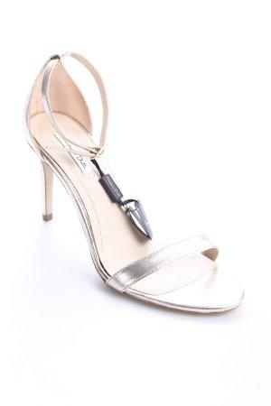 Massimo Dutti Riemchen-Sandaletten goldfarben Eleganz-Look