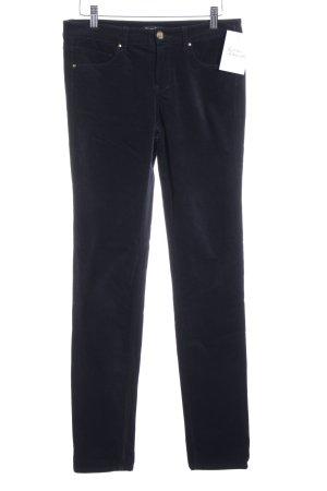 Massimo Dutti Röhrenhose dunkelblau Samt-Optik