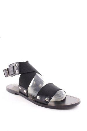 Massimo Dutti Römer-Sandalen schwarz Street-Fashion-Look