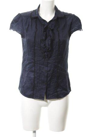 Massimo Dutti Rüschen-Bluse dunkelblau-schwarz Casual-Look