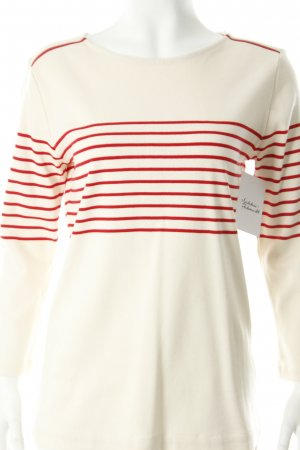 Massimo Dutti Rundhalspullover wollweiß-rot Streifenmuster sportlicher Stil