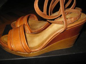 Massimo Dutti Wedge Sandals cognac-coloured leather