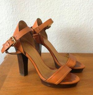 Massimo Dutti Sandaletten High Heels Cognac Gr. 38