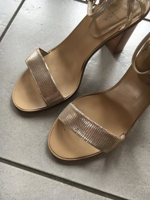 Massimo Dutti Sandaletten mit Absatz in gold