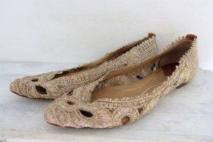 Massimo Dutti Schuhe Ballerinas flache Schuhe Sommer Bast beige braun Gr. 38