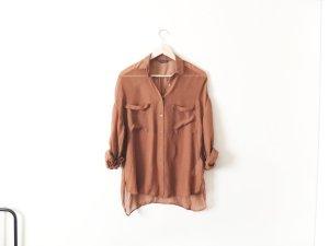 Massimo Dutti Seidenbluse Gr. 38 40 braun oversized Bluse trend