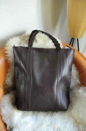 MASSIMO DUTTI Shoppingbag, dunkelbraun, neu, geflochtener Griffe-letzte Reduz.