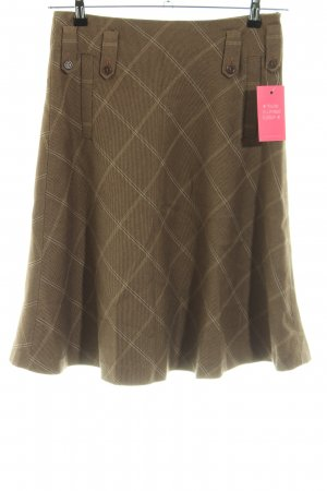 Massimo Dutti Skater Skirt bronze-colored check pattern business style