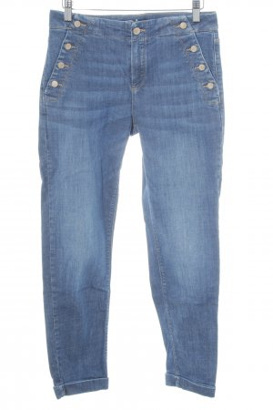 Massimo Dutti Skinny Jeans stahlblau Washed-Optik