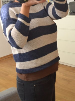 Massimo Dutti Knitted Sweater beige-dark blue polyester