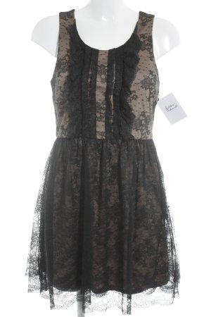 Massimo Dutti Kanten jurk zwart-beige gothic uitstraling