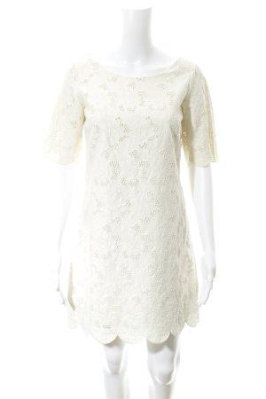 Massimo Dutti Spitzenkleid wollweiß florales Muster Elegant