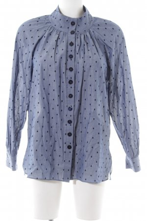 Massimo Dutti Stand-Up Collar Blouse blue-black allover print business style