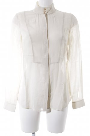Massimo Dutti Stand-Up Collar Blouse cream romantic style