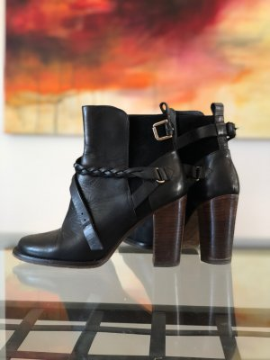 Massimo Dutti Booties black-brown leather