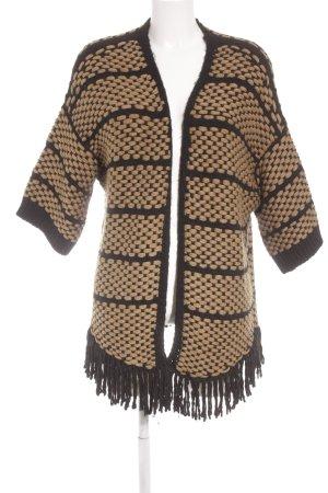 Massimo Dutti Strick Cardigan schwarz-beige Casual-Look