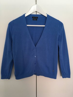 Massimo Dutti Short Sleeve Knitted Jacket cornflower blue cotton
