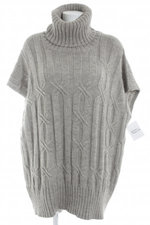 Massimo Dutti Strickponcho graubraun Lochstrickmuster Casual-Look