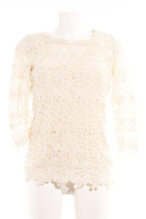 Massimo Dutti T-shirts en mailles tricotées crème motif de fleur