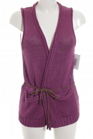 Massimo Dutti Strickweste violett Lochstrickmuster Casual-Look