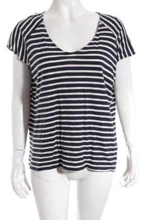 Massimo Dutti T-Shirt dunkelblau-weiß Streifenmuster Beach-Look