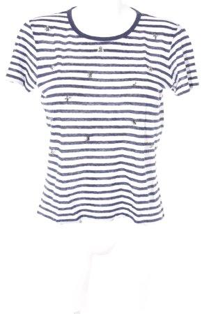 Massimo Dutti T-Shirt dunkelblau-weiß Streifenmuster Casual-Look