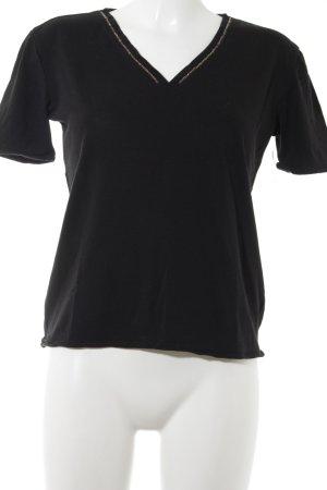 Massimo Dutti T-Shirt schwarz-goldfarben Casual-Look