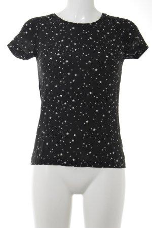 Massimo Dutti T-Shirt schwarz-weiß Sternenmuster Casual-Look