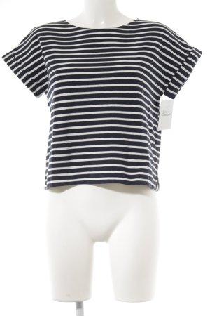 Massimo Dutti T-Shirt stahlblau-weiß Streifenmuster Casual-Look