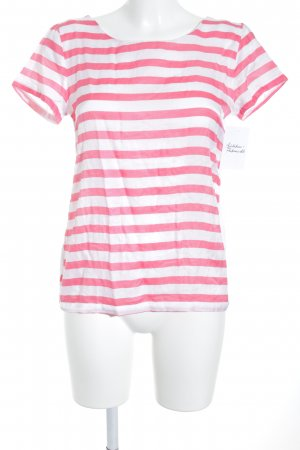 Massimo Dutti T-Shirt weiß-magenta Streifenmuster