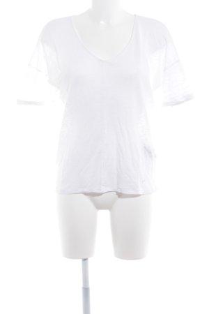 Massimo Dutti T-Shirt wollweiß Lochstrickmuster Casual-Look