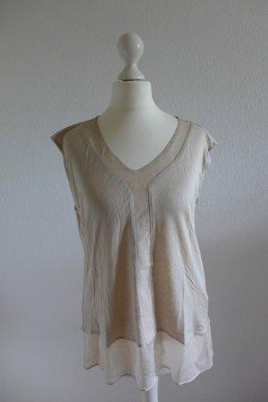 Massimo Dutti Top Shirt zart nude puder beige creme offwhite Gr. S wie neu