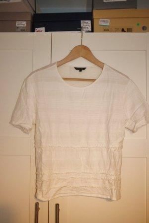 Massimo Dutti Top T-shirt Leinen + Baumwolle cremeweiß ecru S w. NEU