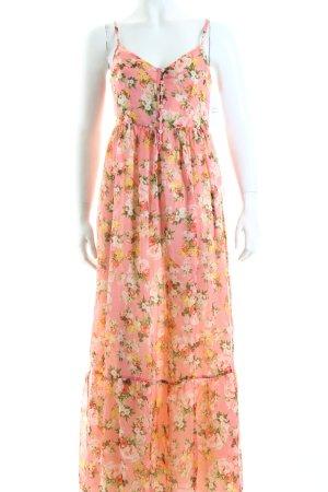 Massimo Dutti Trägerkleid rosa florales Muster Hippie-Look