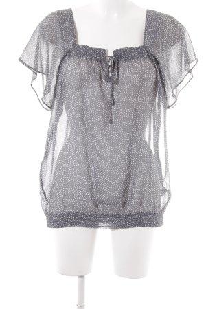 Massimo Dutti Transparenz-Bluse grau-wollweiß Punktemuster Casual-Look