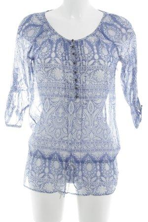 Massimo Dutti Transparenz-Bluse kornblumenblau-weiß Paisleymuster Casual-Look