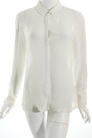 Massimo Dutti Transparenz-Bluse wollweiß klassischer Stil