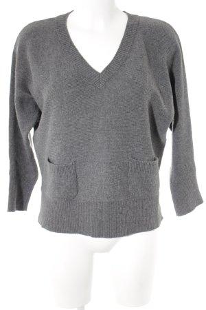 Massimo Dutti V-Ausschnitt-Pullover anthrazit Casual-Look