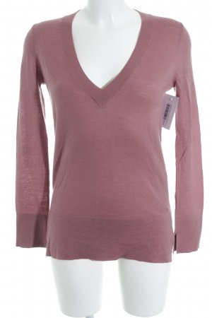 Massimo Dutti V-Ausschnitt-Pullover blasslila Casual-Look