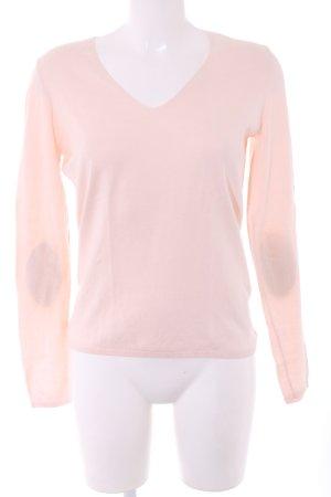 Massimo Dutti V-Ausschnitt-Pullover pink-braun Casual-Look