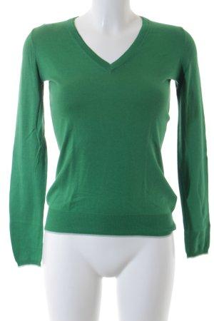 Massimo Dutti V-Ausschnitt-Pullover grün Casual-Look